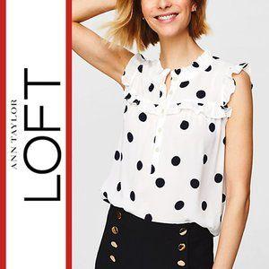Loft   'Pollka Dot' Ruffle Sleeve Top